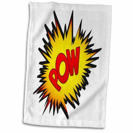 3dRose Superhero fight comic POW - Towel, 15 by 22-inch - Superhero Pow