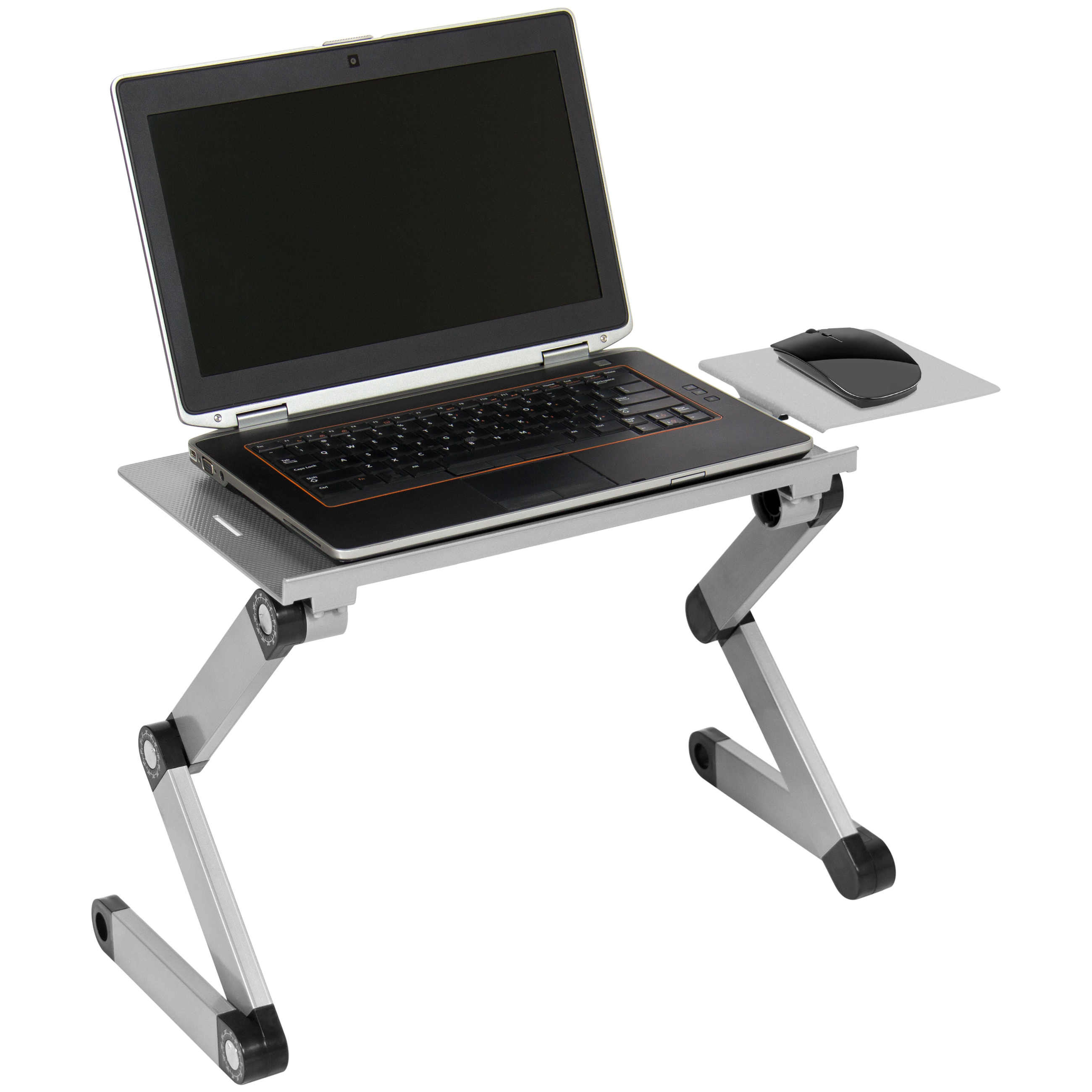 Best Choice Products Ergonomic Ventilated Adjustable Laptop Desk Stand for Office or Home w/ CPU Fan, Mouse Pad - Silver