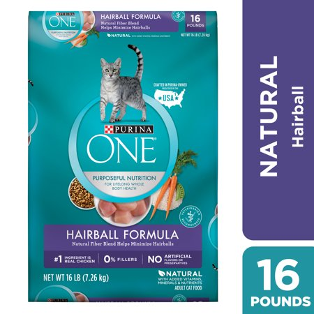 Purina One Hairball Natural Dry Cat Food, 16 lb