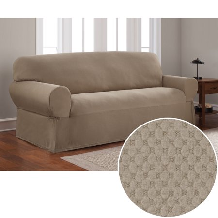 Mainstays Stretch Pixel 1 Piece Sofa Furniture Cover Slipcover Sand