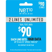 Net10 $90 Unlimited Family & Friends Plan for 2 Lines (10GB of data per line at high speeds, then 2G*) (Email Delivery)