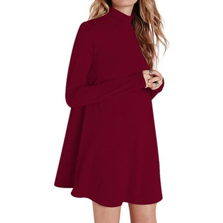 Women Pullover Turtleneck Loose Long Sleeve A Swing Dress  Wine Red S