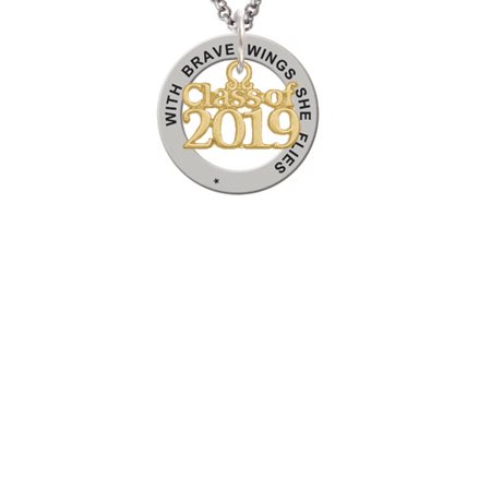 Goldtone Class of 2019 Brave Wings Affirmation Ring Necklace](Class Necklaces)