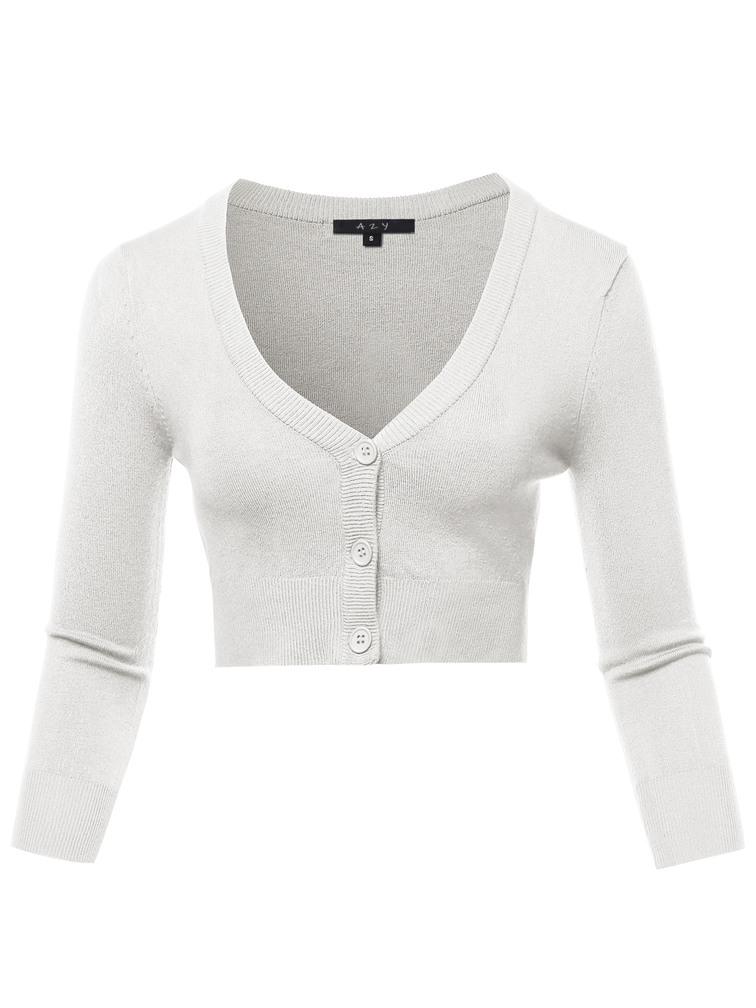A2Y Women's Solid Cropped Bolero 34 Sleeve Button Down V Neck Cardigan Sweater White 2XL