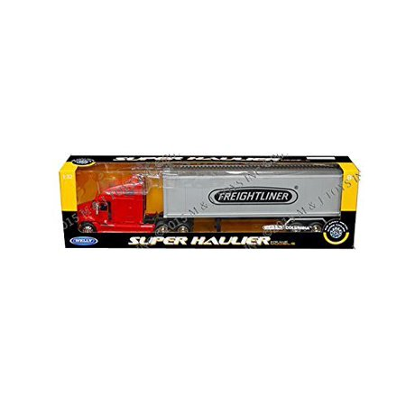 Hauler Truck - Welly Freightliner Columbia Super Hauler Tractor Truck and Trailer 1/32 Scale Diecast Model Red