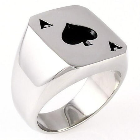 Trustmark Mens Black Ace of Spades Stainless Steel Cast Biker Lucky Poker Ring, Amarillo sz 12.0