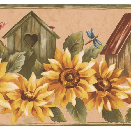 Yellow Sunflower and Birdhouse Floral Wallpaper Border Retro Design, Roll 15' x 9'' ()
