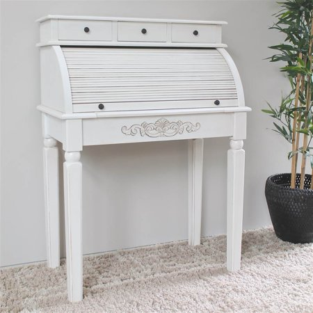 Hand Carved Wood Antique White Roll Top Desk