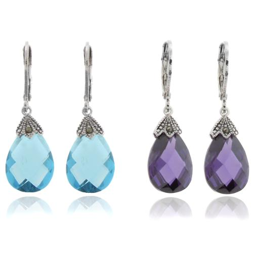Dolce Giavonna Silver Overlay Marcasite and Cubic Zirconia Teardrop Leverback Earrings Purple
