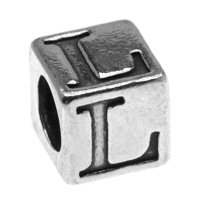 Sterling Silver, Alphabet Cube Bead Letter 'L' 5.5mm, 1 Piece, Antiqued