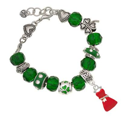 Silvertone Red Dress Green St. Patrick's Day Bead Bracelet - St Patrick's Day Dress