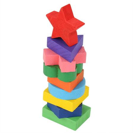 Cergrey Drôle enfants en bois forme de géométrie Puzzle en bois empilant bloc de construction apprentissage précoce jouet, jouet de bloc de construction, bloc empilable - image 5 de 7