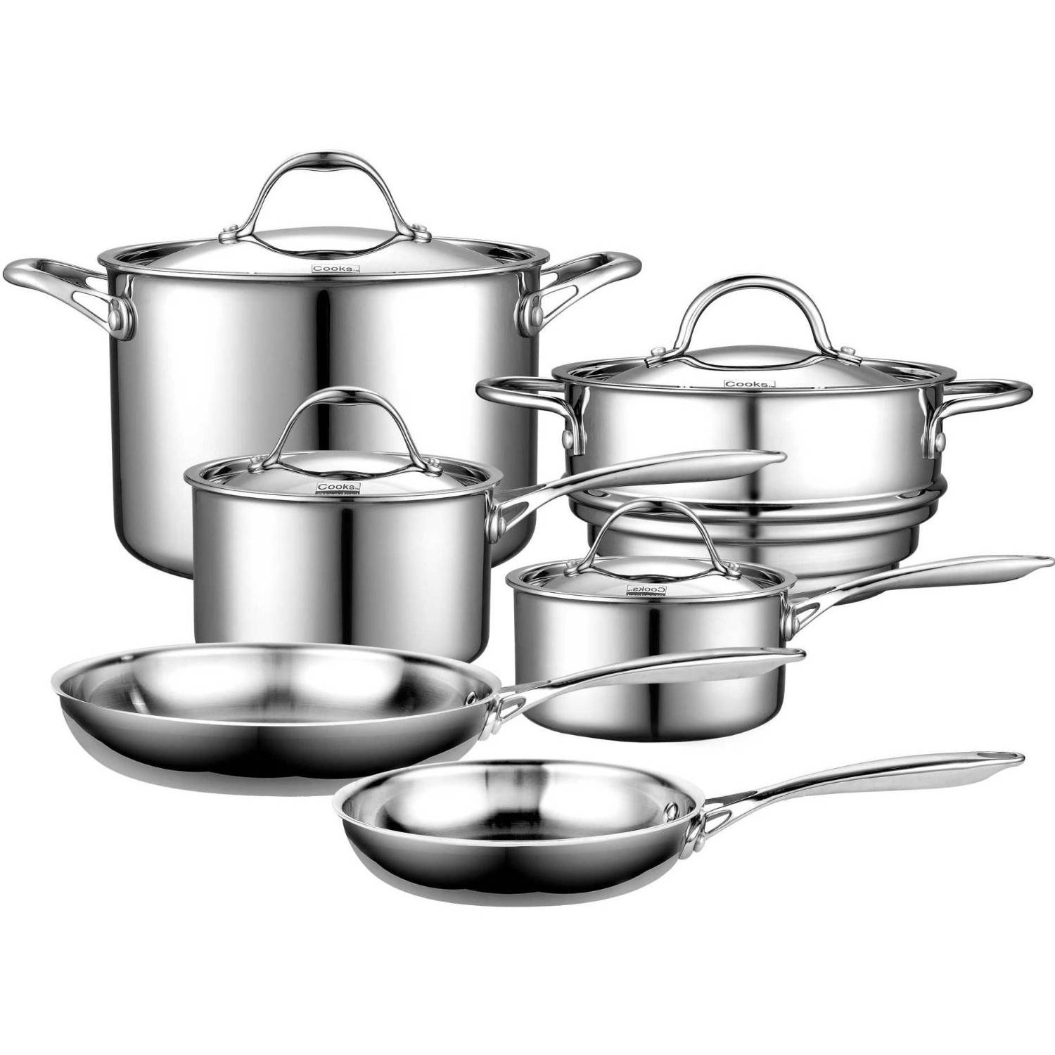 Cooks Standard 10-Piece Cookware Set Multi-Ply Clad Stainless-Steel