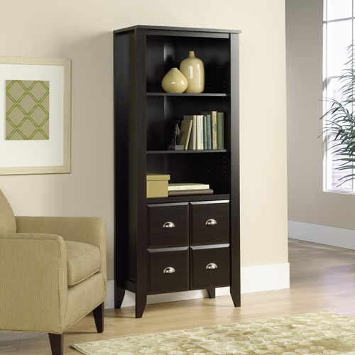Sauder Shoal Creek 3-Shelf Library Bookcase with Doors, Jamocha Wood
