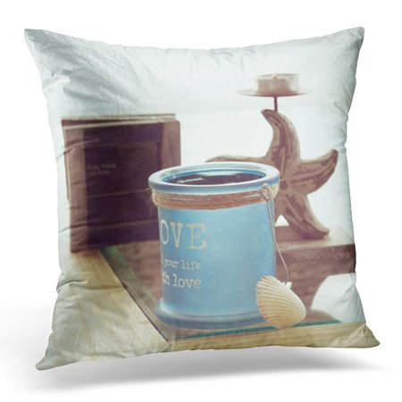ECCOT Blue Sea Idea of Interior in Beach Cottage Style with Trendy Glass Candlestick and Rustic Bottles Pillowcase Pillow Cover Cushion Case 18x18 inch ()