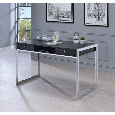 Contemporary Style Wood And Metal Writing Desk, Gray