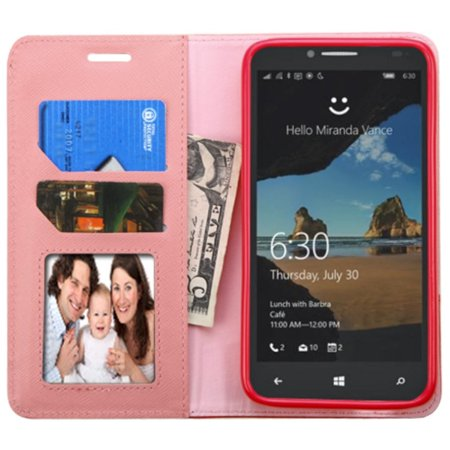 Insten Flip Leather Wallet Case Cover with Stand & Card slot For Alcatel One Touch Fierce XL - Pink/Red - image 1 de 5