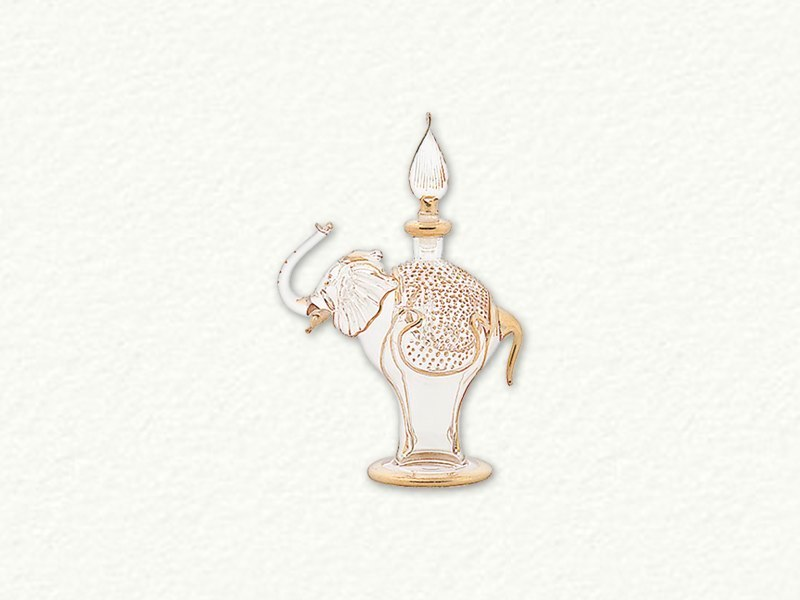 Clear and Gold Elephant Egyptian Blown Glass Perfume Bottle by Egyptian Museum
