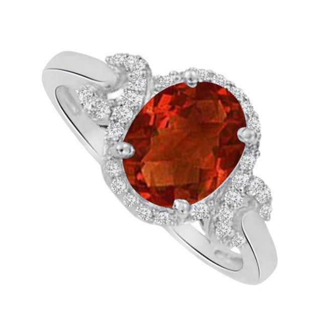 Fine Jewelry Vault UBNR83926AG9X7CZGR Oval Garnet & CZ Halo Twist Ring - 1.75 CT TGW , 36 Stones