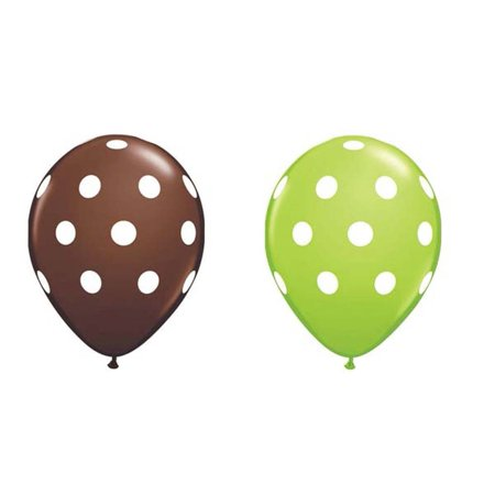 24ct Assorted Brown and Green Balloons with White Polka Dots by 24 Pack of assorted Brown and Green 11 Latex Balloons with White Polka Dots By Qualatex](Green Polka Dot Balloons)