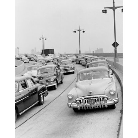 Heavy traffic on the broad ramp approach to the Lincoln Tunnel Stretched Canvas -  (18 x 24)