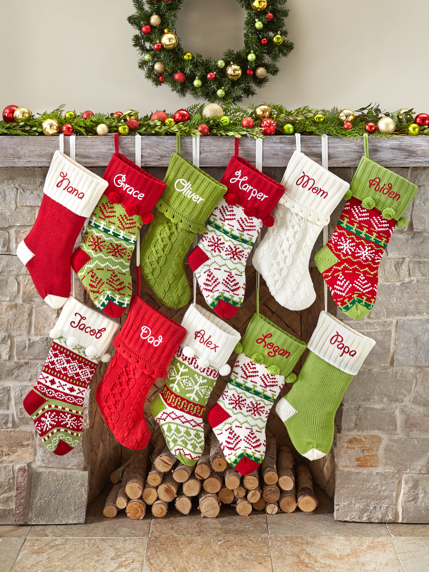 Personalized Snowflake Knit Christmas Stocking Available In 11 Designs Walmart Com Walmart Com