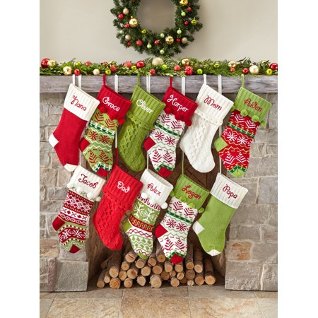 Christmas Stocking Personalized.Personalized Snowflake Knit Christmas Stocking Available In 11 Designs