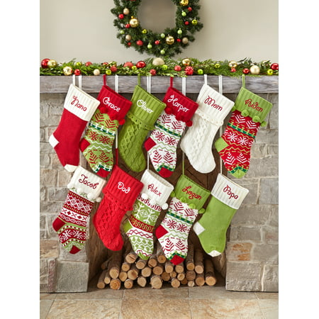 Personalized Snowflake Knit Christmas Stocking Available