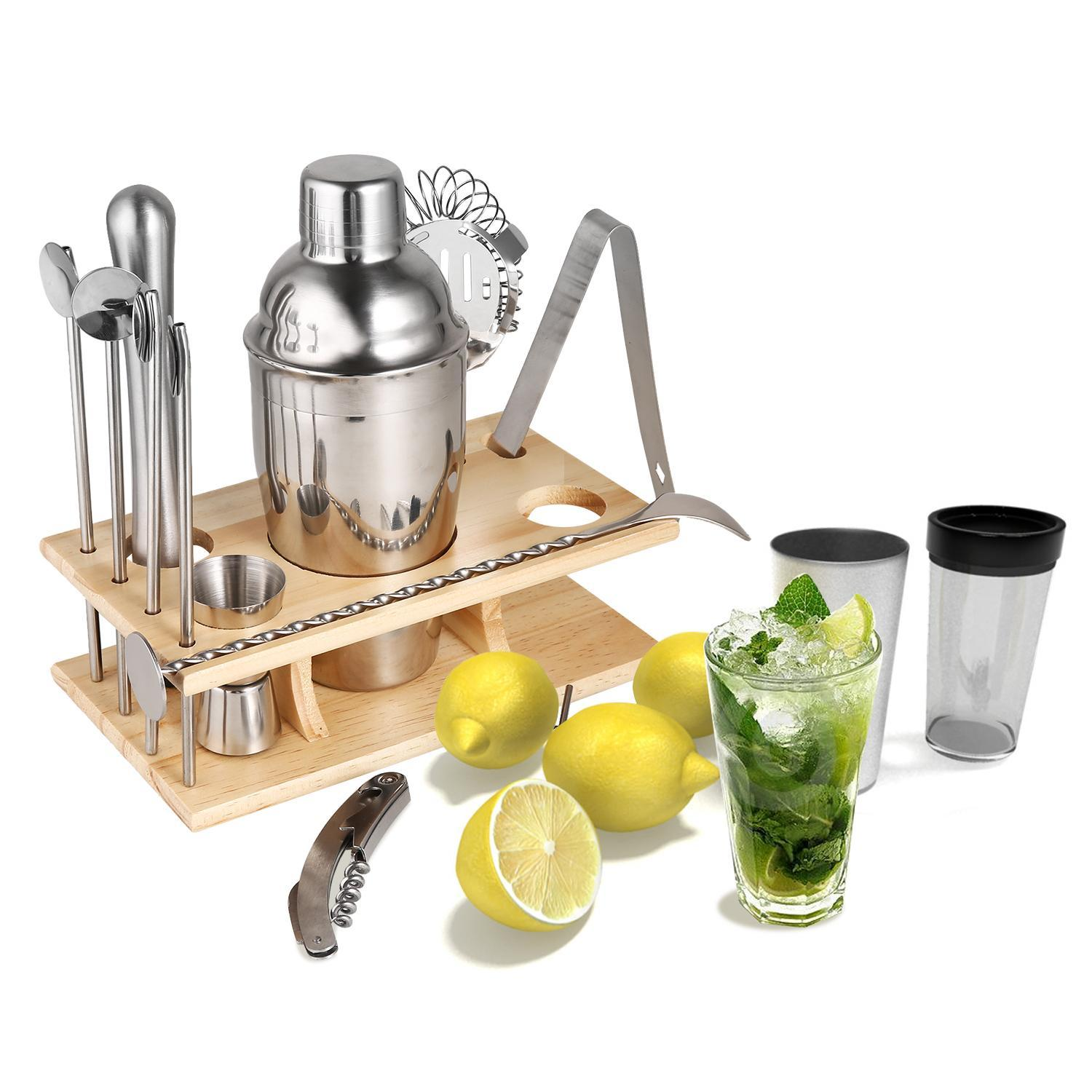 14 Piece Stainless Steel Cocktail Bar Set Shaker With Beech Stand 4 Straw Spoons Muddler Double Sided Jigger... by