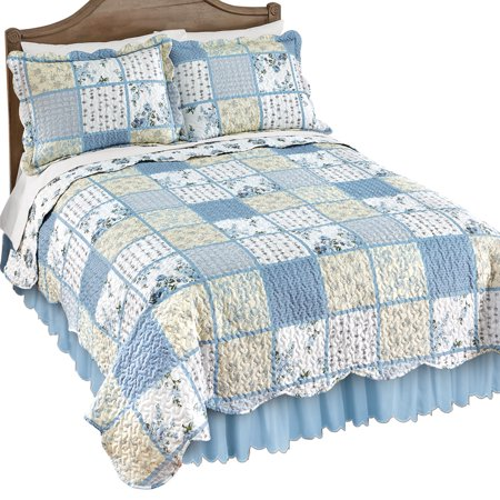 Willow Blue and Yellow Floral Patchwork Quilt with Checkered and Striped Patterns, Scalloped Edge Detail, Full/Queen,