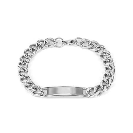 Men's Stainless Steel Polished Curb Chain ID Bracelet (Mens Id Sterling Silver Bracelet)