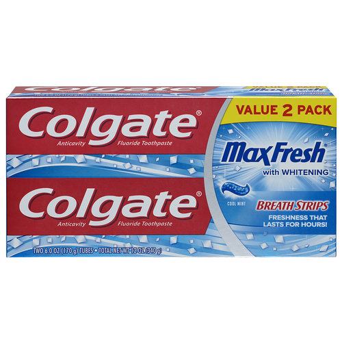 Colgate MaxFresh Cool Mint Toothpaste with Mini Breath Strips, 6 oz, 2 pack