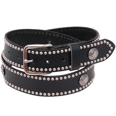 Heavy Buffalo Nickel Stud Trim Solid Leather Belt #BT24BUFST