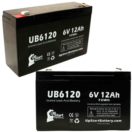 2x Pack - W. W. GRAINGER 5VC09 Battery Replacement - UB6120 Universal Sealed Lead Acid Battery (6V, 12Ah, 12000mAh, F1 Terminal, AGM, SLA) - Includes 4 F1 to F2 Terminal Adapters - image 4 de 4