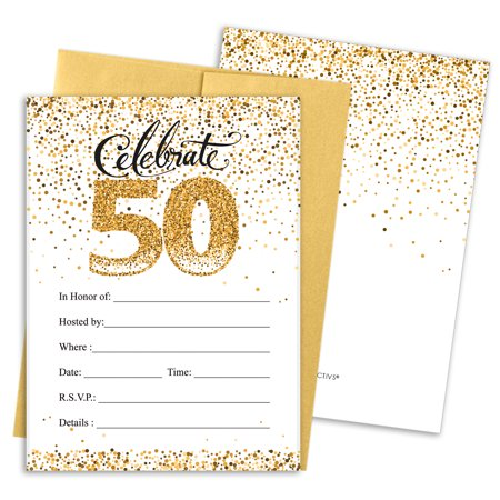 50th Birthday Party Invitations | 10 Cards | 5x7 Invites with Envelopes | White and Gold - Casino Invites
