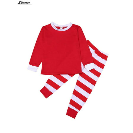 Christmas Pajama Pants - Spencer Family Christmas Pajamas Set Red Top and Striped Long Sleeve Pants Nightgown for Men Women Kids Sleepwear Set