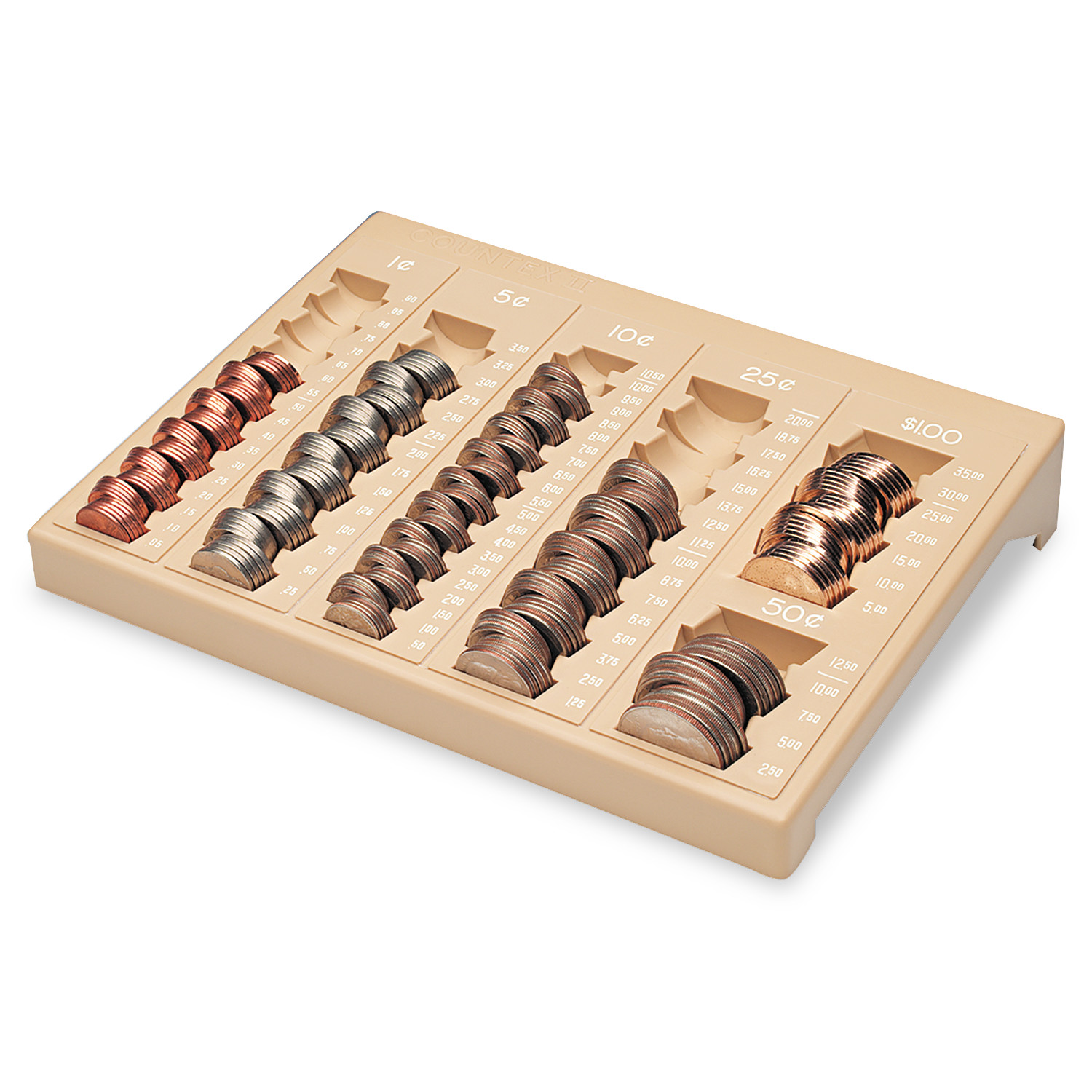 MMF Industries One-Piece Plastic Countex II Coin Tray w/6 Compartments, Sand -MMF221611003