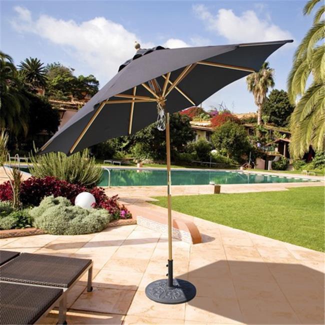 Galtech 9 ft. Light Wood Quad Pulley Rotational Tilt Umbrella - Natural Sunbrella 13954