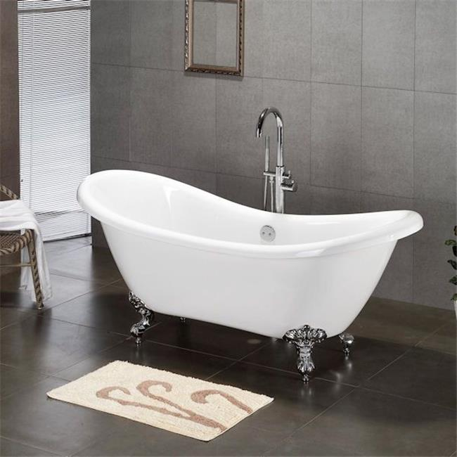 Inc  Acrylic Double Ended Clawfoot Bathtub 68 x 30 in. with No Faucet Drillings and Complete Brushed Nickel Plumbing Package