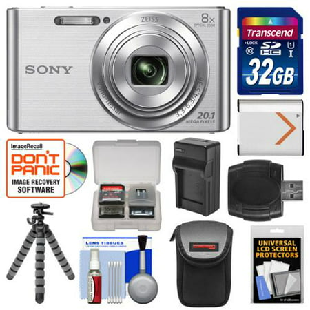 Sony Cyber-Shot DSC-W830 Digital Camera (Silver) with 32GB Card + Case + Battery & Charger + Flex Tripod + Accessory