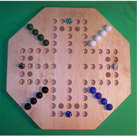 Spot It Games (Charlies Woodshop W-1932.1 18 in. Octagon Aggravation Wooden Marble Game Board with 8 Birch Inlaid Spots, Hard Maple -Oiled - 4 Player - 5)