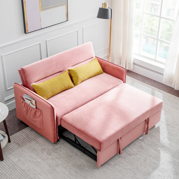 LIPOBAO Compact Soft Velvet Sofa Bed Pull out Sleeper Pink ...