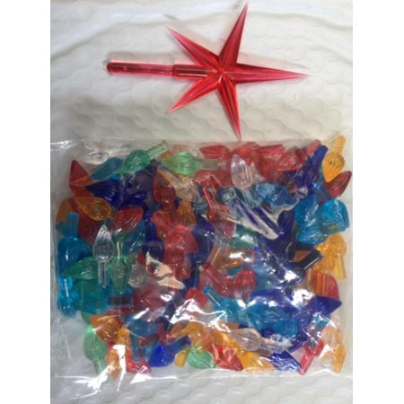 Christmas Tree Bulbs and Red Star - Medium Twinkle Light Ornaments - Multi Colors - 144 Piece Pack 1'' L x 3/8'' W overall Stem: 7/16'' L x 3/16'' Dia. Star size 1-3/4