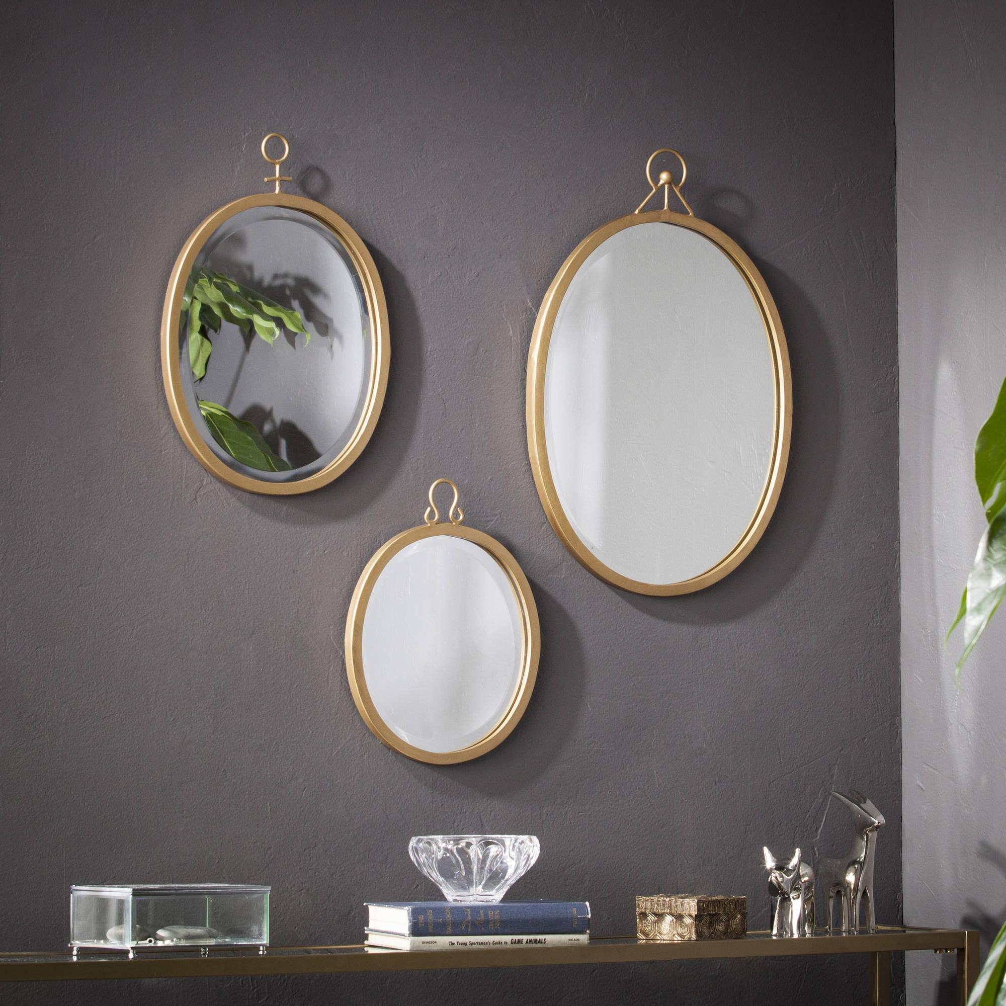 Southern Enterprises Emeterio Decorative Mirror Set, Gold, 3-Piece
