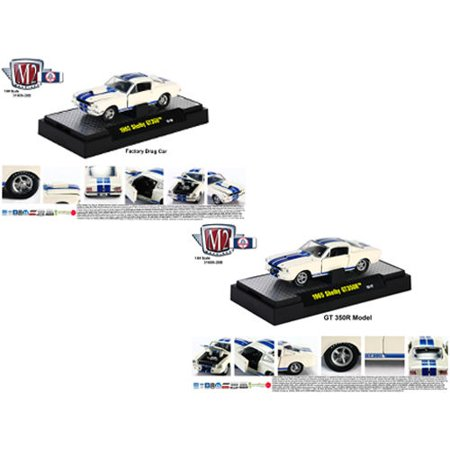 1965 Shelby Mustang GT350R R Model & 1965 Shelby GT350 Factory Drag Car,  2pc Cars Set IN DISPLAY CASES 1/64 by M2