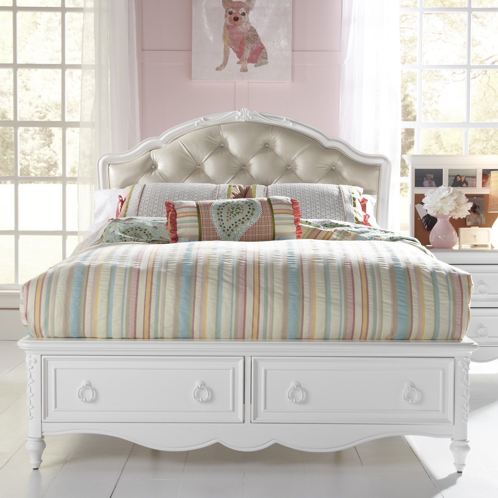 SweetHeart Upholstered Panel Bed - White