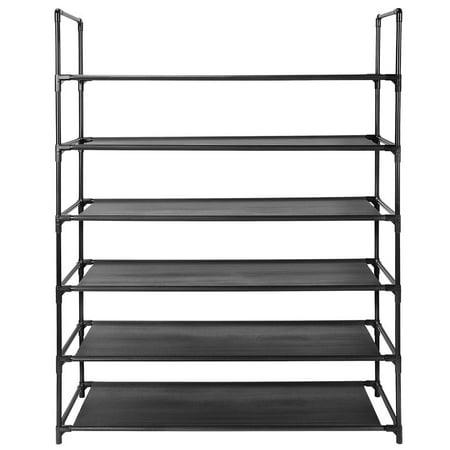6-Tier Shoe Rack, 30-Pair Shoes Storage Organizer, Stackable Entryway Shoes Shelf, Black - image 2 of 6