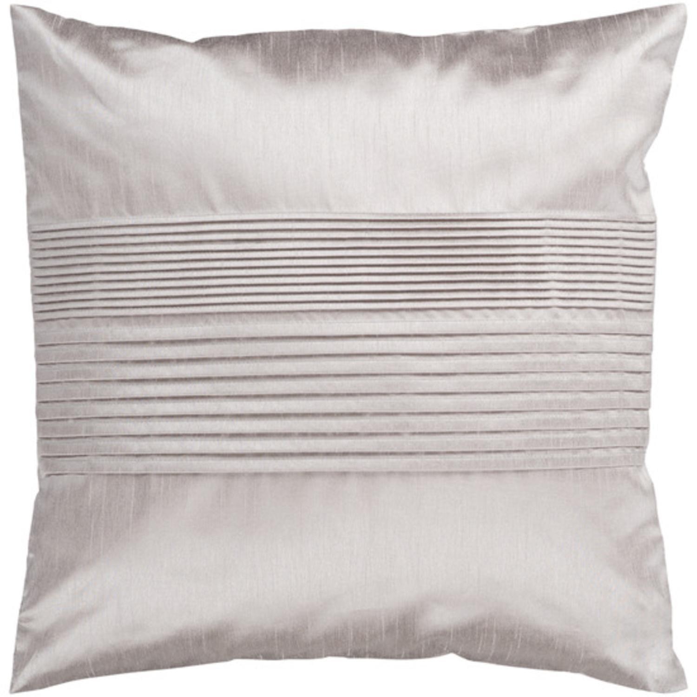 "22"" Silver Taupe Tuxedo Pleats Decorative Down Throw Pillow"