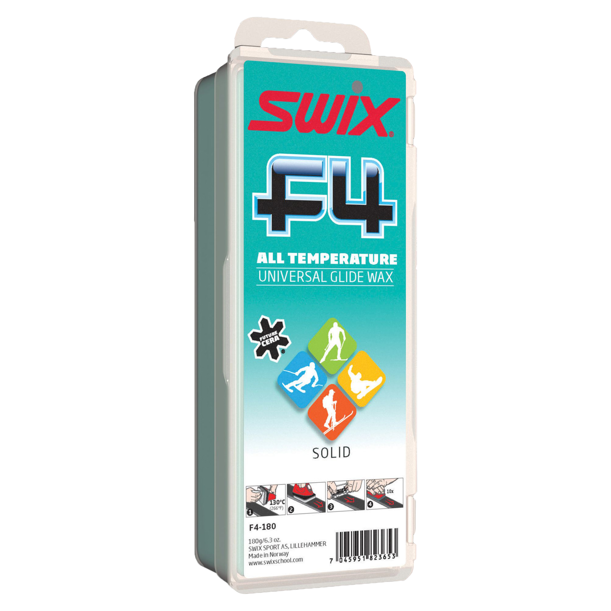 F4 SWIX Fluoro Ski Wax Large 180 gram bar 2017