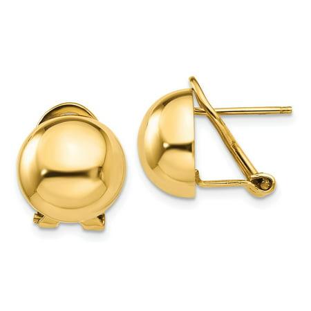 14K Yellow Gold Earring Button Women'S 12 mm Omega Clip 12Mm Half Ball Earrings